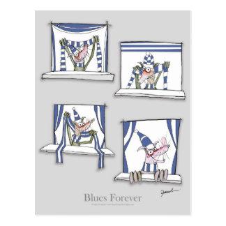 soccer football dog blues forever postcard