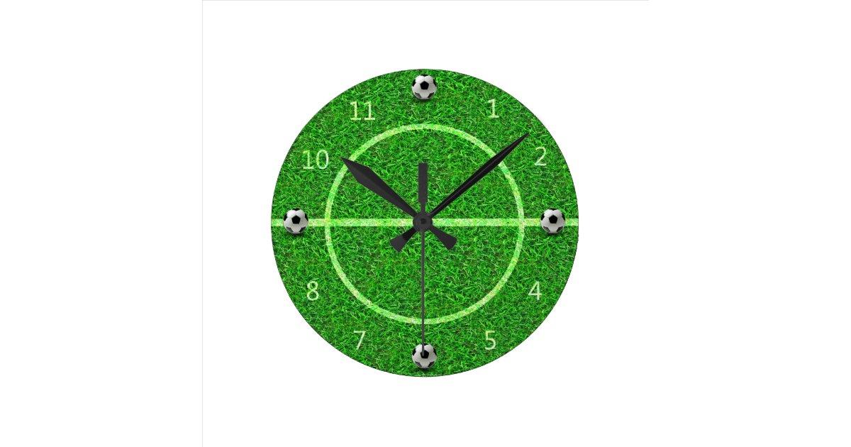 Football Design Wall Clock : Soccer football field wall clock zazzle