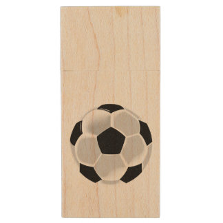 Soccer Football Futbol Ball Wood USB 2.0 Flash Drive