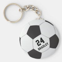 Soccer Football Gift | Personalized Name Number Keychain