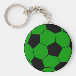 Soccer football green and black basic round button keychain
