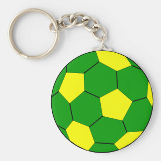Soccer football green and yellow basic round button keychain