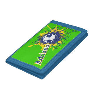 Soccer football green blue name goal wallet