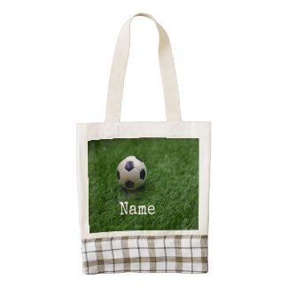 Soccer football is on green grass zazzle HEART tote bag