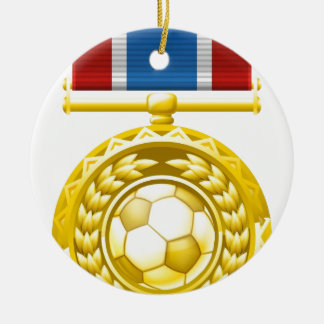 Soccer football medal Double-Sided ceramic round christmas ornament