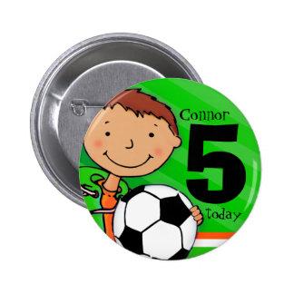 Soccer / football name age 5 green button / badge