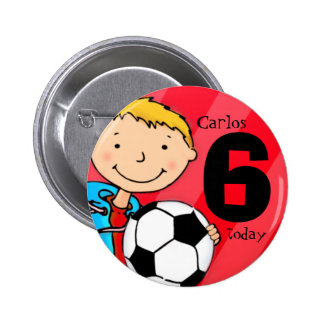 Soccer/football name and age button / badge