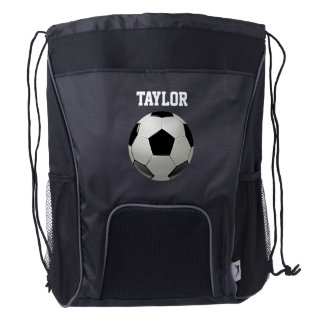 Soccer Football Name Personalize Drawstring Backpack