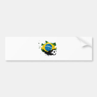 soccer/football over brazil flag painting etiqueta de parachoque