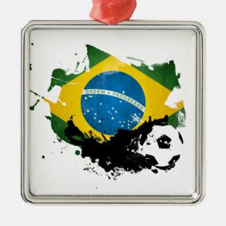 soccer/football over brazil flag painting