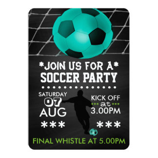 """Soccer/Football Party Personalized Cool Chalkboard 5"""" X 7"""" Invitation Card"""