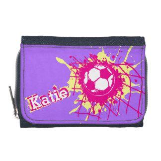 Soccer football pink yellow purple score wallet