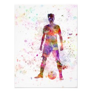 soccer football player young man standing defiance fotografías