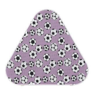 Soccer football purple white pattern bluetooth speaker