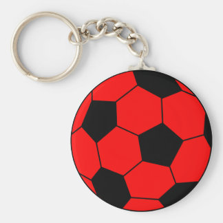 Soccer football red and black basic round button keychain