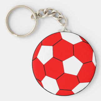 Soccer football red and white basic round button keychain