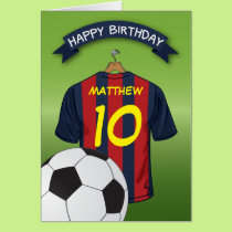 Soccer Football Red & Blue Stripe Shirt Birthday Card