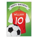 Soccer Football Red Shirt Custom Sports Birthday Card