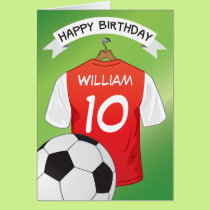 Soccer Football Red Shirt Custom Sports Birthday Card