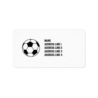 Soccer Football Return Address Labels or Name Tags at Zazzle