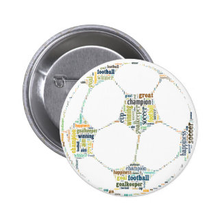 Soccer Football  Word Tag Cloud Pinback Button