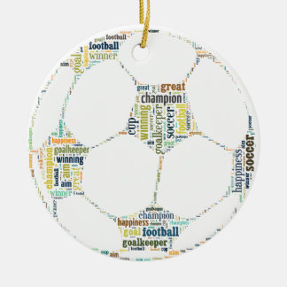 Soccer Football  Word Tag Cloud Ceramic Ornament