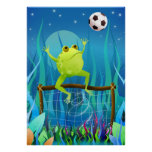 Soccer Frog at night Poster