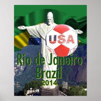 Soccer futbal USA Rio Brazil POSTER Print