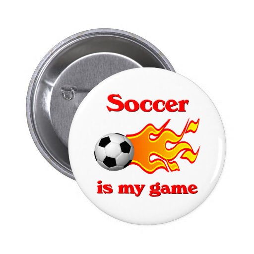 Soccer Game Button with Soccer Ball and Flame