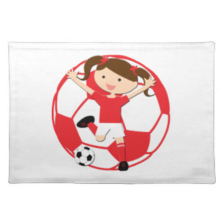 Soccer Girl 1 and Ball Red and White Cloth Placemat
