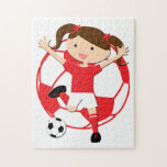 Soccer Girl 1 and Ball Red and White Puzzles