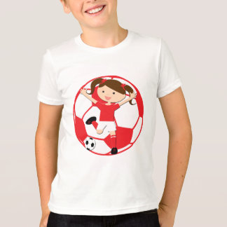 Soccer Girl 1 and Ball Red and White T-Shirt