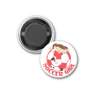 Soccer Girl 1 and Ball Red and White v2 Refrigerator Magnets