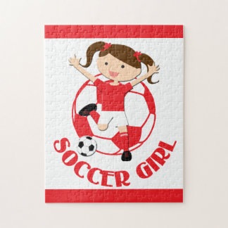 Soccer Girl 1 and Ball Red and White v2 Jigsaw Puzzles