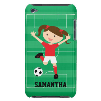 Soccer Girl 1 Red and White Barely There iPod Cover