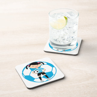 Soccer Girl 2 and Ball Blue and White Stripes Beverage Coaster