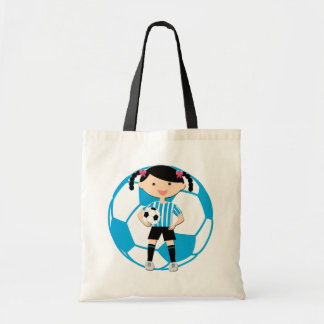 Soccer Girl 2 and Ball Blue and White Stripes Budget Tote Bag
