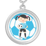 Soccer Girl 2 and Ball Blue and White Stripes Necklace