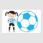 Soccer Girl 2 and Ball Blue and White Stripes Rectangular Sticker