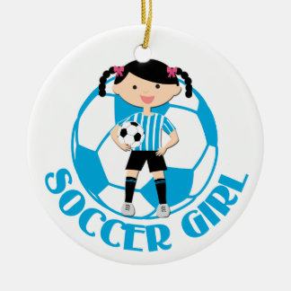 Soccer Girl 2 Ball Blue and White Stripes v2 Ceramic Ornament