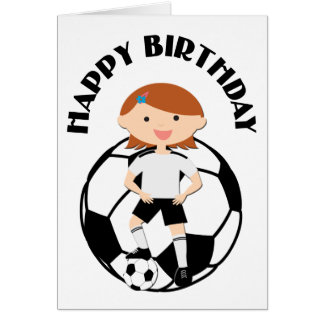 Soccer Girl 3 and Ball Black and White Greeting Cards
