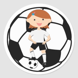 Soccer Girl 3 and Ball Black and White Classic Round Sticker