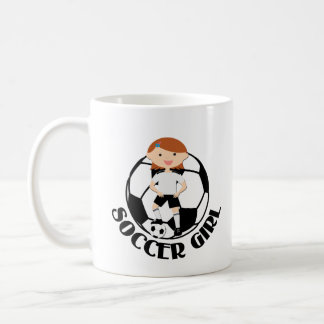 Soccer Girl 3 and Ball Black and White Classic White Coffee Mug