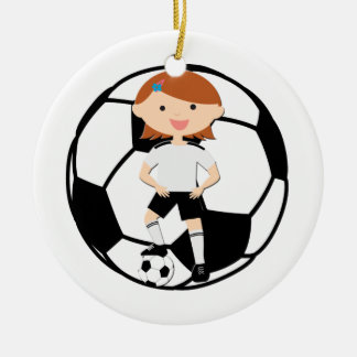 Soccer Girl 3 and Ball Black and White Double-Sided Ceramic Round Christmas Ornament