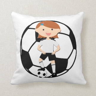 Soccer Girl 3 and Ball Black and White Pillow