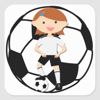 Soccer Girl 3 and Ball Black and White Square Stickers