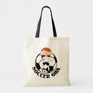 Soccer Girl 3 and Ball Black and White v2 Bags