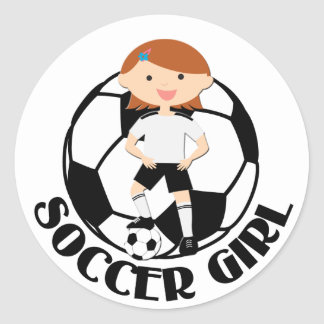 Soccer Girl 3 and Ball Black and White v2 Classic Round Sticker