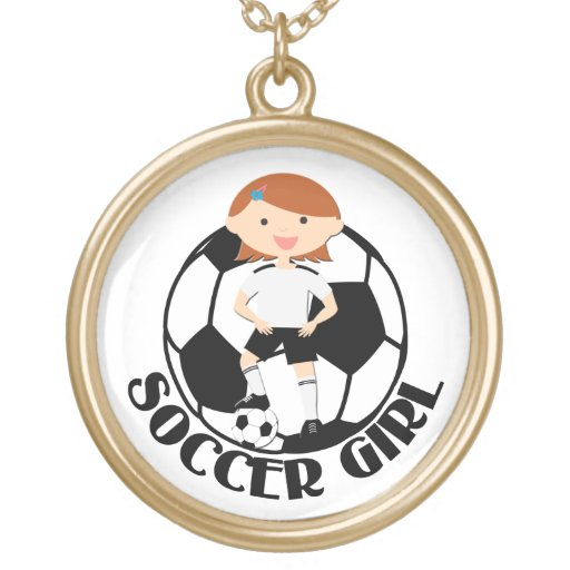 Soccer Girl 3 and Ball Black and White v2 Personalized Necklace