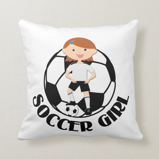 Soccer Girl 3 and Ball Black and White v2 Throw Pillow